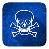 skull flat icon, christmas button, death sign