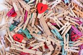 Closeup Of Colorful Wood Pegs Pins