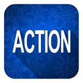action flat icon, christmas button