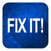 fix it flat icon, christmas button