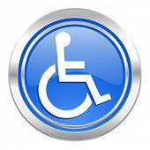 wheelchair icon, blue button