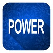 power flat icon, christmas button
