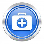 first aid icon, blue button, hospital icon, blue button