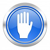 stop icon, blue button, hand sign