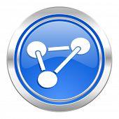 chemistry icon, blue button, molecule sign
