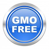 gmo free icon, blue button, no gmo sign