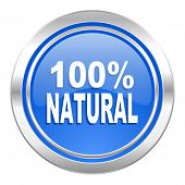 natural icon, blue button, 100 percent natural sign