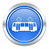 tram icon, blue button, public transport sign