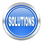 solutions icon, blue button