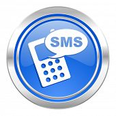 sms icon, blue button, phone sign