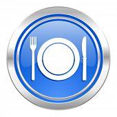 eat icon, blue button, restaurant symbol