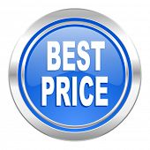 best price icon, blue button