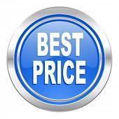 best price icon, blue button