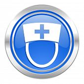nurse icon, blue button, hospital sign