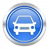 car icon, blue button, auto sign