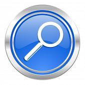 search icon, blue button