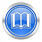 book icon, blue button