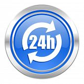24h icon, blue button