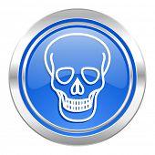 skull icon, blue button, death sign
