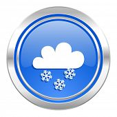 snowing icon, blue button, waether forecast sign