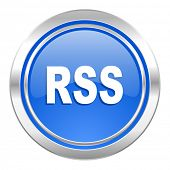 rss icon, blue button