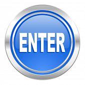 enter icon, blue button