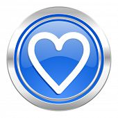 heart icon, blue button, love sign