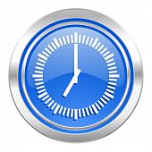 time icon, blue button, clock sign