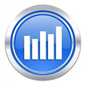 graph icon, blue button, bar graph sign