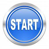 start icon, blue button