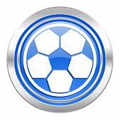 soccer icon, blue button, football sign
