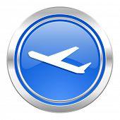 deparures icon, blue button, plane sign