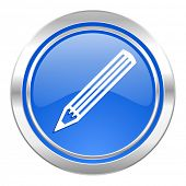 pencil icon, blue button