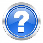 question mark icon, blue button, ask sign