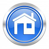house icon, blue button, home sign