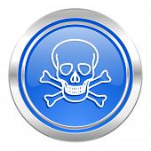 skull icon, blue button, death sign
