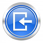 enter icon, blue button