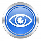 eye icon, blue button, view sign