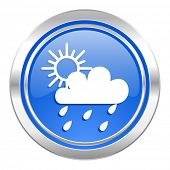 rain icon, blue button, waether forecast sign