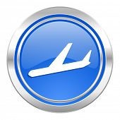 arrivals icon, blue button, plane sign