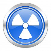 radiation icon, blue button, atom sign