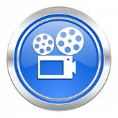 movie icon, blue button, cinema sign