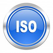 iso icon, blue button
