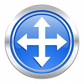 arrow icon, blue button