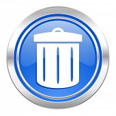recycle icon, blue button, recycle bin sign