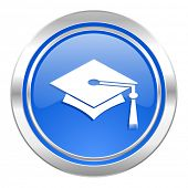 education icon, blue button, graduation sign