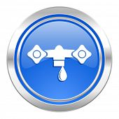 water icon, blue button, hydraulics sign
