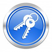 keys icon, blue button