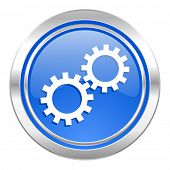 gears icon, blue button, options sign