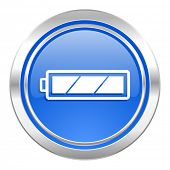 battery icon, blue button, charging symbol, power sign